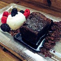 Warm Chocolate Caramel  Bread Pudding - caramel sauce | chocolate fudge | vanilla bean ice cream