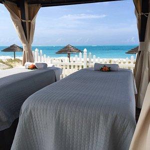 Breezy beach side massages overlooking Grace Bay Beach