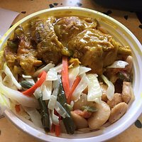 Lunch Special: Curried Chicken, Mixed Cabbage, and Butter Beans