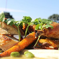 Caramelised chicken breast, manchego galette, parsnip puree, chardonnay braised leg, baby carrot