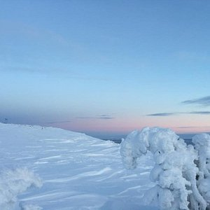 Snowshoe or ski to the top to see amazing views.