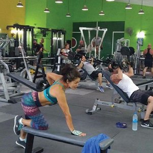 Castra Gym, free-weights area. Over 2 tons of weights, with dumbbells up to 180lbs!