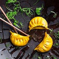 Duck Gyoza - wok gyoza, hazelnut, steam & chili, cucumber, goem sesame, yakitori