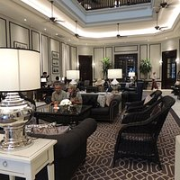Opulent entrance lounge at The Strand Hotel, Yangon