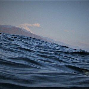 潜行前に富士が見えます
