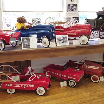 Some of the pedal cars. The oldest piece is the 1905-10 Studebaker Jr. farm wagon