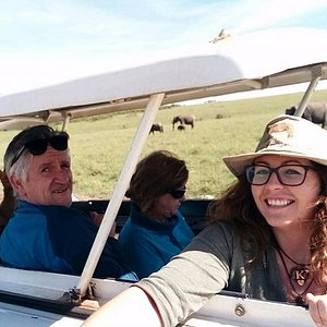 Me and my group in the safari vehicle
