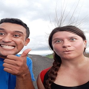 This nice photo was taken at volcano boarding in Cerro Negro, had a lot of fun
