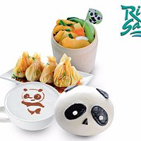 Enjoy dining in an atmosphere of fun with panda-themed decorative features.