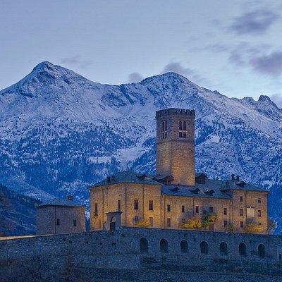 Il castello Reale di Sarre in inverno