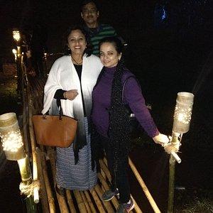 On a bamboo makeshift bridge!