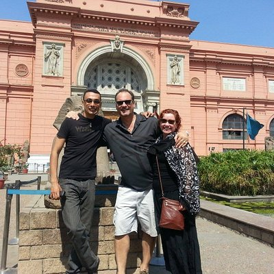 with my guests in front of the Egyptian Museum