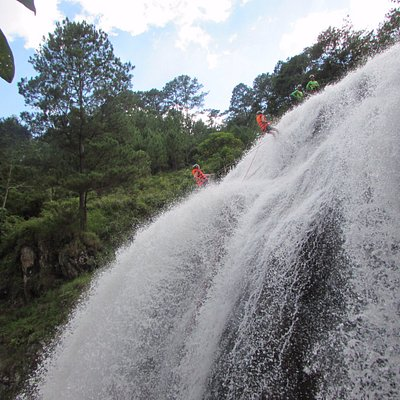 abseiling from water fall