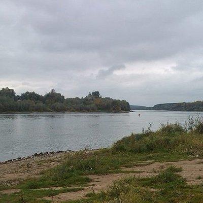 Вид с пляжа у деревни Бёхово противоположную сторону от Тарусы