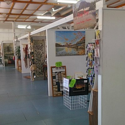 Artists have individual studio spaces to display their work.