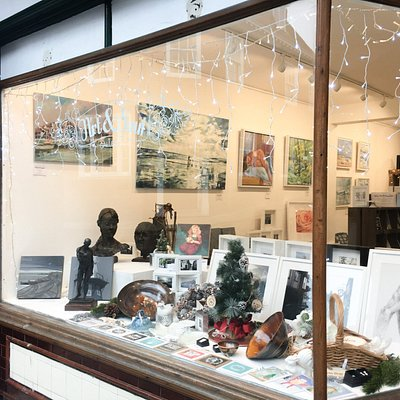 The window featuring local artists Ben Fenton, Richard Neave, Clive Dand and Daimian Barclay-Dea
