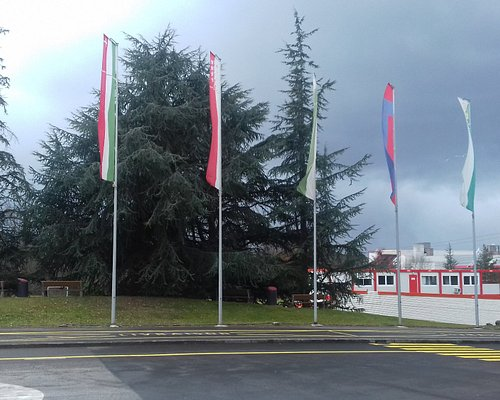Flags of Confederatio Helvetica in front of Palexpo