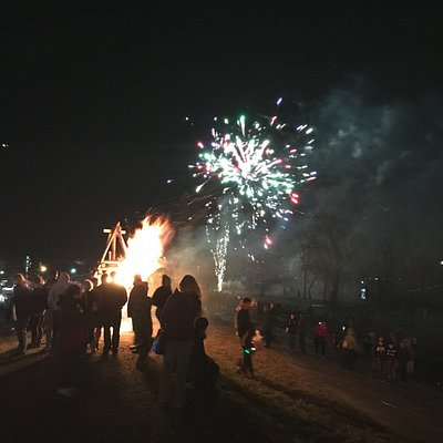 Bonfire and Fireworks on Christmas Eve in Gramercy, LA