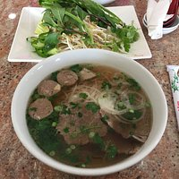 The pho comes with plenty of meat and all the fixings