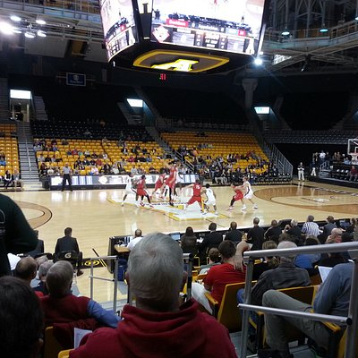 Tip-off of an App State basketball game (small crowd day after Thanksgiving)