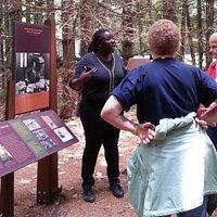 Felicia Jamison leading guided tour of WEB Du Bois Homesite in Great Barrington, MA.