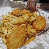 Gurnard, oyster, potato scallops, kumara scallop, chips