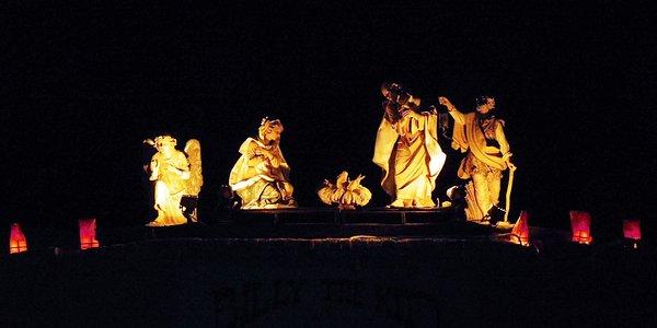 Nativity Scene Outside the Restaurant