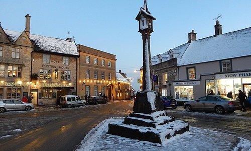 Square market cross in the snow