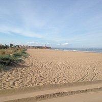 Looking along beach