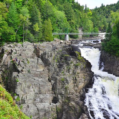 The Canyon Sainte Anne Waterfalls , with the rock cliffs and numerous view decks.