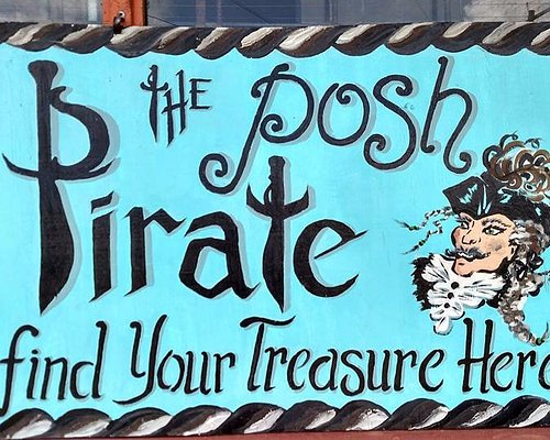 Hand-painted sign at the Posh Pirate antique shop!