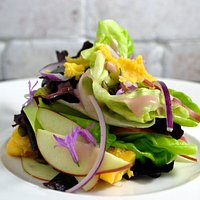 Red Oak and Chicory, Curried Pumpkin Seeds, Gala Apples, Gloucester Cheddar, Garlic Flowers