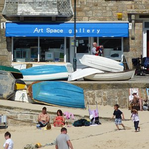 Gallery front with harbour beach