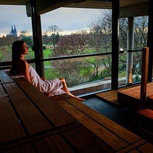 Saunainnenbereich - Panoramasauna mit Domblick