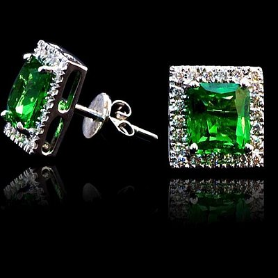 18K White Gold Earring S/W Tsavorite and Diamonds