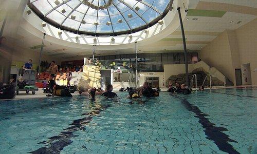 inside the pool area