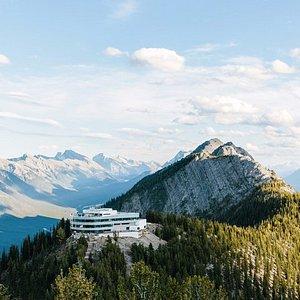 The Banff Gondola upper terminal at the summit of Sulphur Mountain.