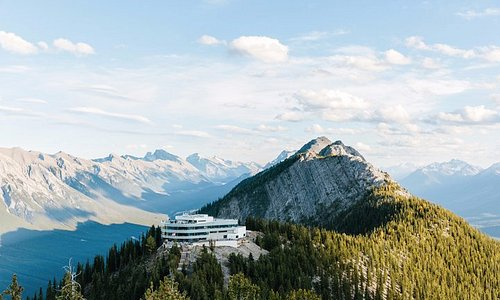 The Banff Gondola upper terminal at the summit of Sulphur Mountain.