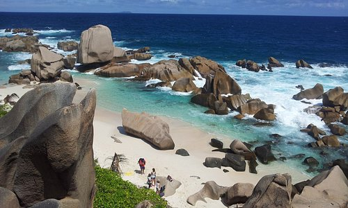 Anse Marron beach on the southern tip of La Digue