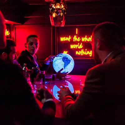 Hidden basement bar