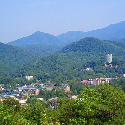 A summertime view of Gatlinburg from the Overlook