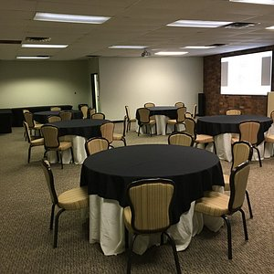 Tables, chairs, linens, audio/video, WiFi included with an hourly rate.