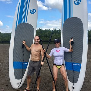 These two are ready to go on their SUP lesson.  With Big Daddy's help, they were experts in no t