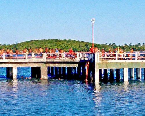 Ponte do Lloyd com uma turma de garotos se preparando para pular nas do Rio Pardo.