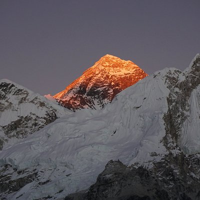 This is Mt. Everest, 8848 meter from the sea label. Top of the world Mountain.