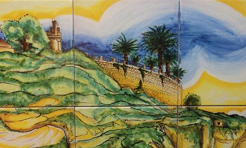 Pannello Promontorio di Sciacca 60x220 Ceramiche Artistiche di Liborio Palmeri Maiolica di Sciac