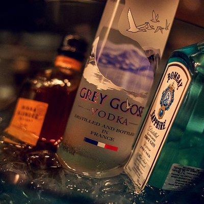 Nikka whiskey, Gray Goose and Bombay gin