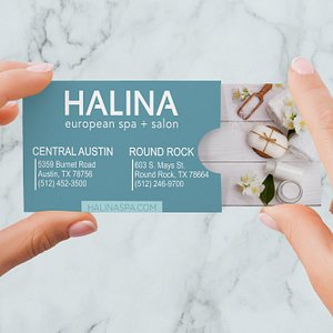 We make it easy to book appointments or buy gift cards - www.halinaspa.com or download our App.