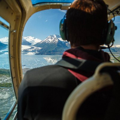 Our daily commute to the office - Lake George with Colony Glacier in the background