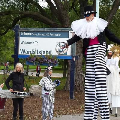 Holiday greetings from our local theatre troupe at Ward's Island ferry docks. where tours begin.